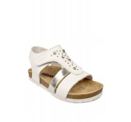 905.b20y.083  Deri Beyaz Çocuk Sandalet