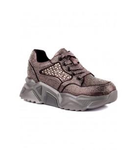Kadın Gri Taşlı Spor Ayakkabı Guja 20K339-1