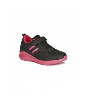 Kız Çocuk Siyah Pembe Cırtcırtlı Patik Spor Ayakkabı